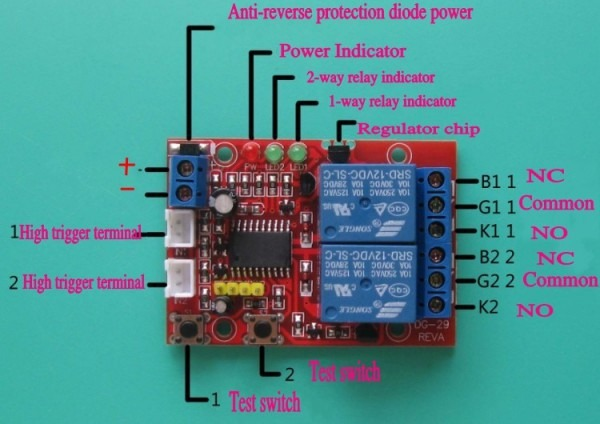 2 Way 12v Latching Relay Modules, Touch Bistable Switch