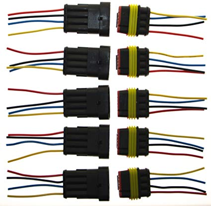 Amazon Com  Pes 5 Packs Of 4 Pin Way Wire Connector Plug Car Auto
