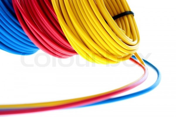 Electric Wires Of Red, Yellow And Dark