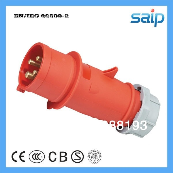 Waterproof Industrial Power Plug 16a 400v Ip44 3 Phase 5 Wire(3p+n